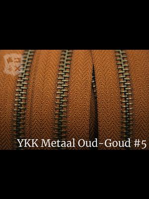 YKK Metaal Metalen rits  #5 Antique Brass van de rol -  Cognac (859)