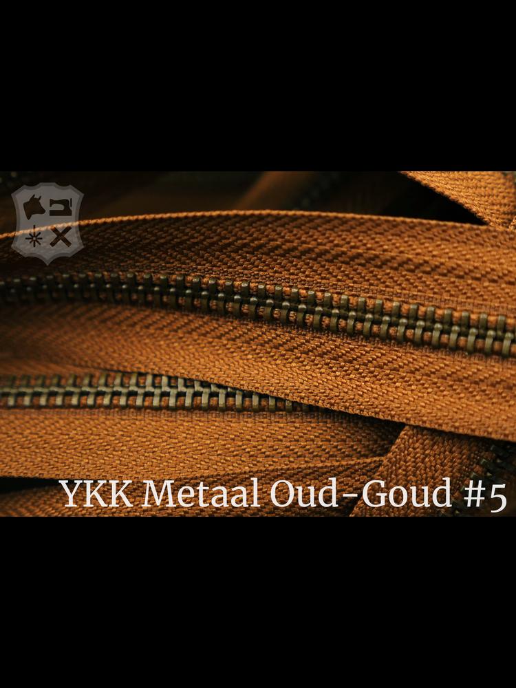 YKK Metalen rits  #5 Antique Brass van de rol -  Cognac (859)