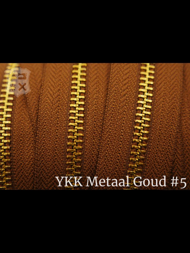 YKK Metaal YKK Metalen rits #5 Golden Brass van de rol  - Cognac (859)