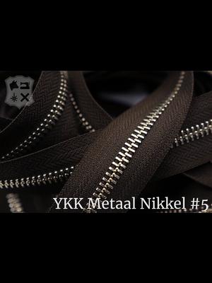 YKK Metaal Metalen rits #5 Nikkel van de rol - (V19 -  Donkerbruin 088)