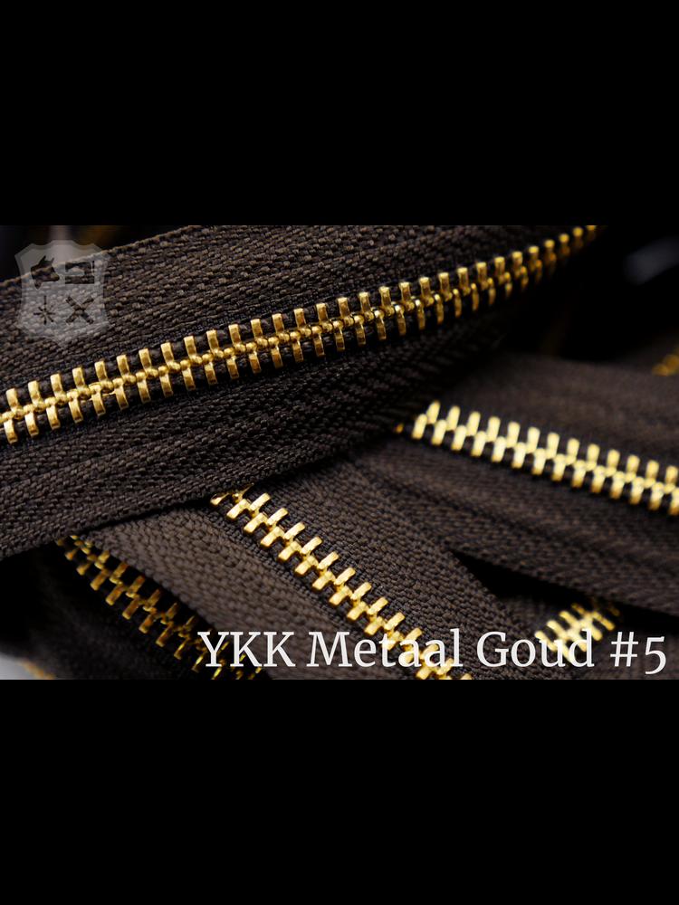 YKK Metaal YKK Metalen rits #5 Golden Brass van de rol  - Donkerbruin (088)
