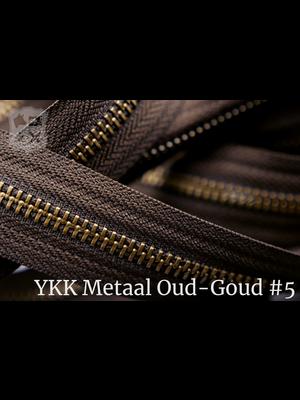 YKK Metaal Metalen rits  #5 Antique Brass van de rol -  Donkerbruin (088)