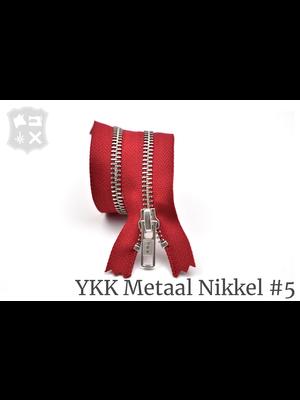 YKK Metaal Metalen rits #5 Zilver, Rood, geremd, enkel - (T15 - rood 519)