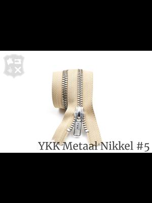YKK Metaal Metalen rits #5 Zilver, geremd, enkel - (I10- Zand 371)