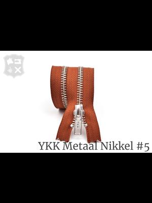 YKK Metaal YKK Metalen rits #5 Zilver, geremd (diverse lengtes) -  Donker Cognac 809