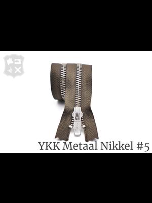 YKK Metaal Metalen rits #5 Zilver, geremd, enkel - (Y15- Donker taupe 394)