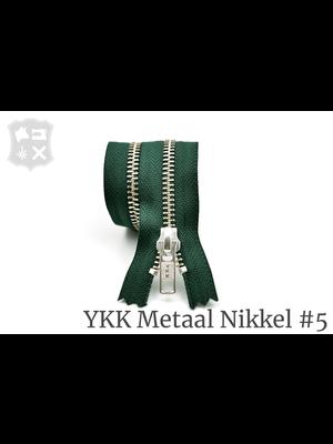 YKK Metaal Metalen rits #5 Zilver, geremd, enkel - (G20- Donker Groen 890)