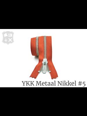 YKK Metaal YKK Metalen rits #5 Zilver, geremd (diverse lengtes) - Baksteen Oranje 450