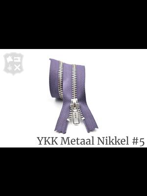 YKK Metaal Metalen rits #5 Zilver, geremd, enkel - (P13 - Paars 380)