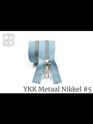 YKK Metaal Metalen rits #5 Zilver, geremd, enkel - (ZD4 - Lichtblauw 012)