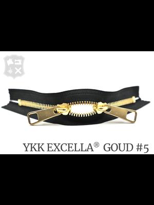 YKK Excella® YKK Excella Rits #5 Goud op maat (dubbel / head-to-head) - (Zwart 580)