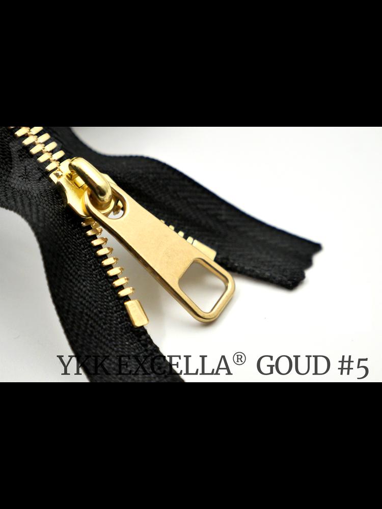 YKK Excella® YKK Excella Rits #5 Goud op maat (enkel) - (zwart 580)