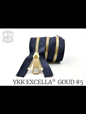 YKK Excella® YKK Excella Rits #5 Goud op maat (enkel) - (K16 - marineblauw 058)