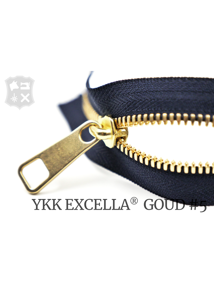 YKK Excella® YKK Excella Rits #5 Goud op maat (dubbel / head-to-head) -  (K16 - Marineblauw 058)