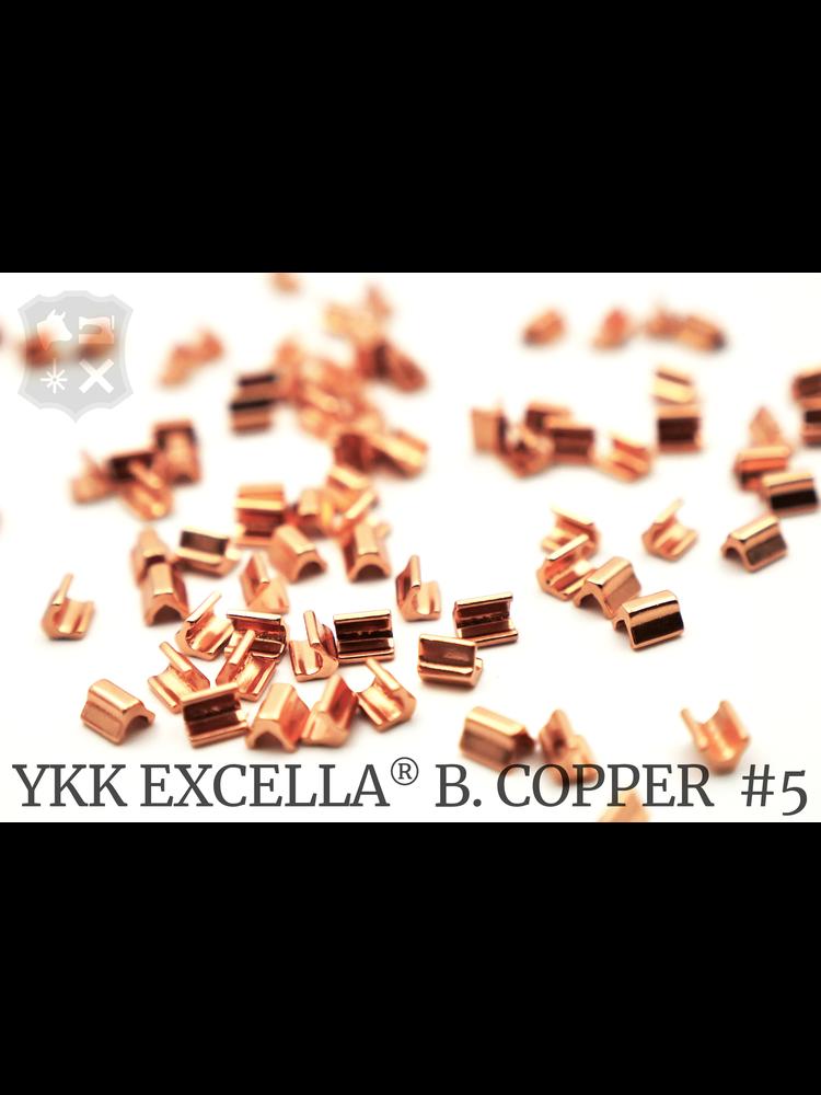 YKK Excella® Excella® eindstops #5, Top, BrightCopper  (60 stuks)