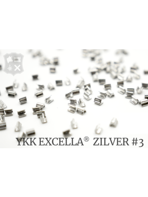 YKK Excella® Excella® eindstops #3, Top, Zilver (60 stuks)