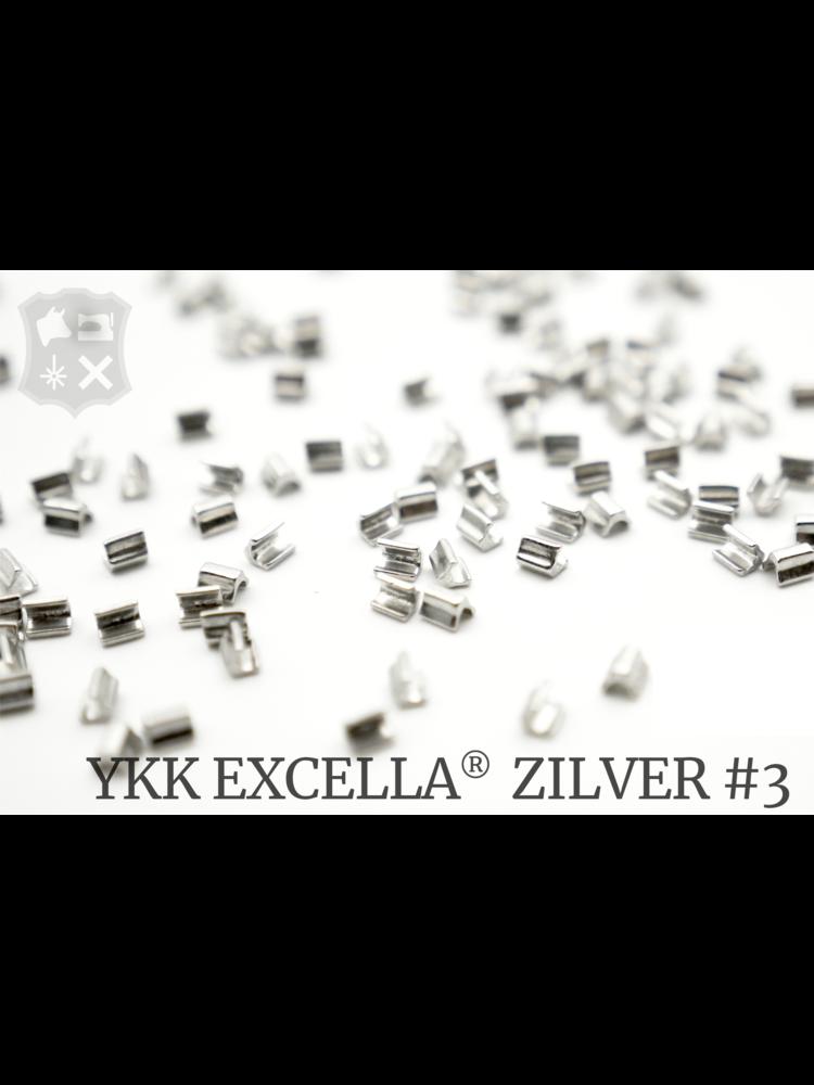 YKK Excella® Excella® eindstops #3, Top, Zilver (40 stuks)