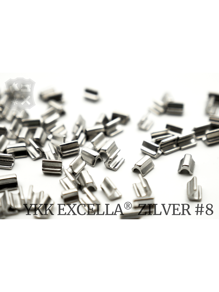 YKK Excella® Excella® eindstops #8, Top, Zilver (60 stuks)