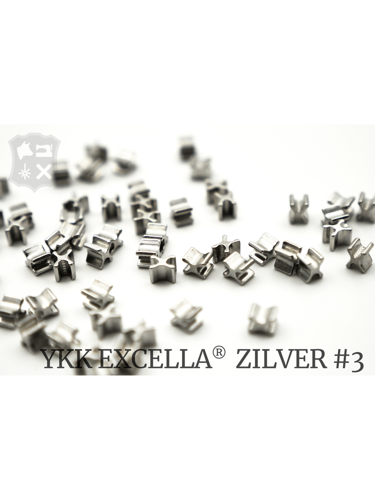 YKK Excella® Excella® beginstops #3, Bottom, Zilver (30 stuks)