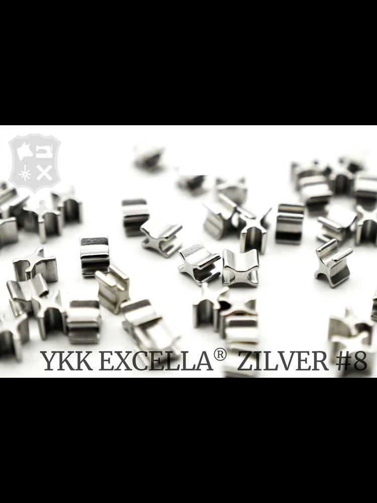 YKK Excella® Excella® beginstops #8, Bottom, Zilver (20 stuks)