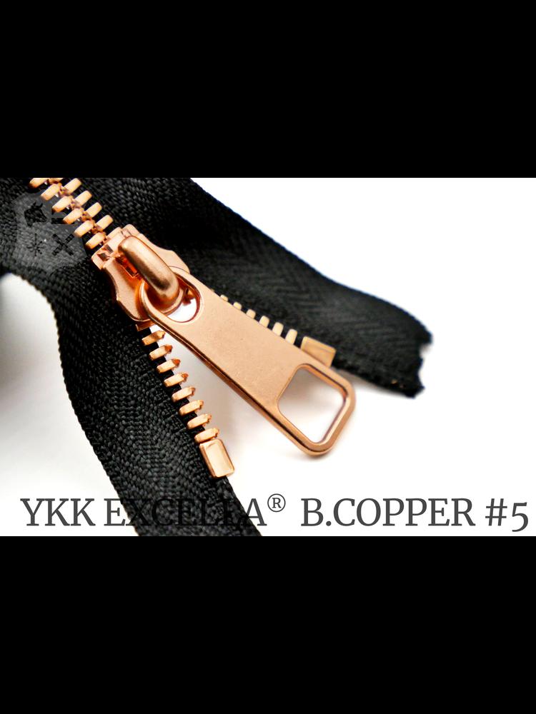 YKK Excella® YKK Excella Rits #5 Bright Copper op maat (enkel) - (ZA19 - zwart 580)