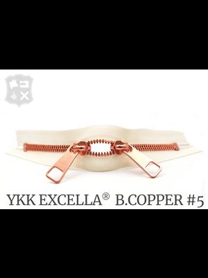 YKK Excella® YKK Excella Rits #5 Bright Copper op maat (dubbel / head-to-head) -  (A2 - ivoor 841)