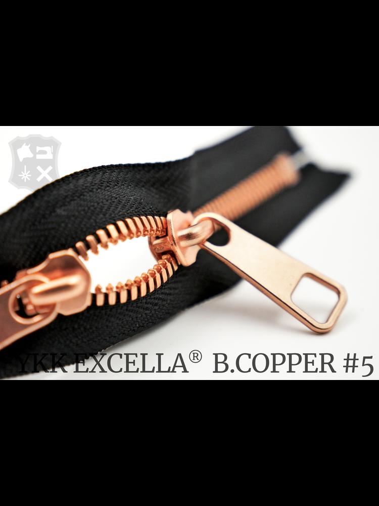 YKK Excella® YKK Excella Rits #5 Bright Copper op maat (dubbel / head-to-head) -  (ZA19 - zwart 580)