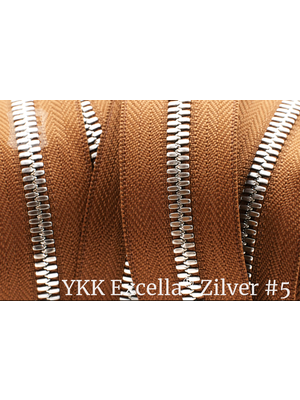 YKK Excella® Excella® #5 Zilver van de rol - (C17 - Cognac 859)