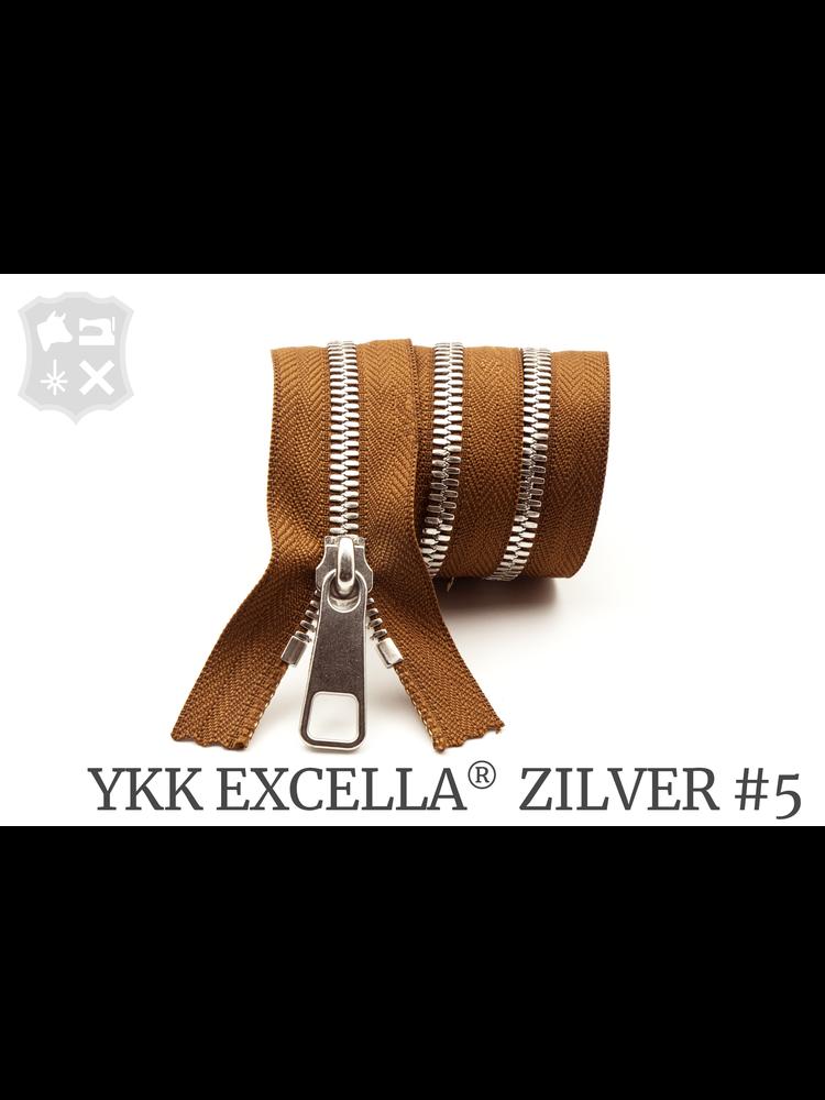 YKK Excella® YKK Excella Rits #5 zilver op maat (enkel) - (C17 - Cognac 859)