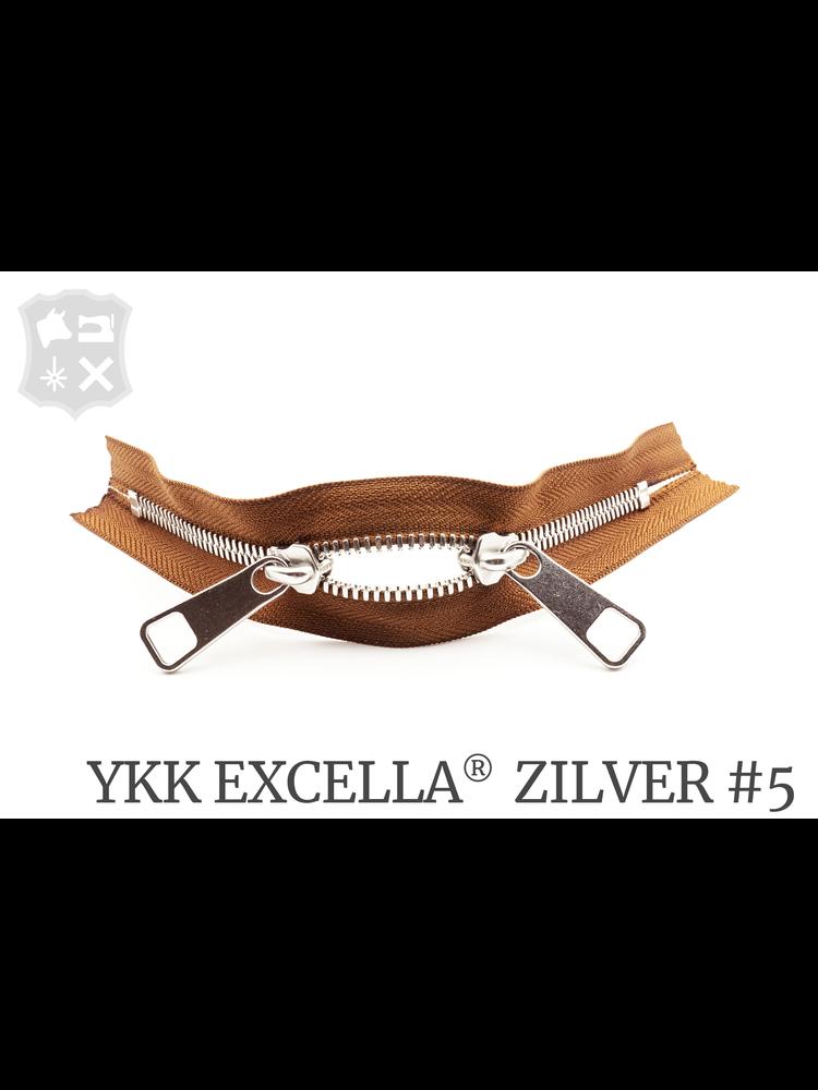 YKK Excella® YKK Excella Rits #5 zilver op maat (dubbel / head-to-head) -  (C17 - Cognac 859)