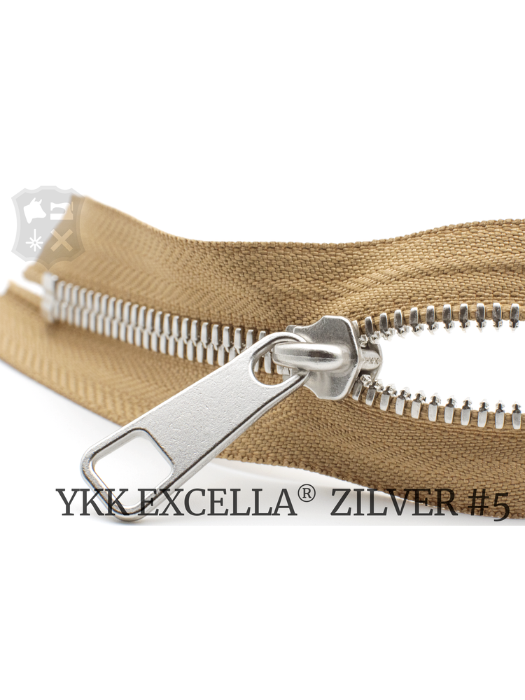 YKK Excella® YKK Excella Rits #5 zilver op maat (dubbel / head-to-head) -  (W11 - Camel 007)