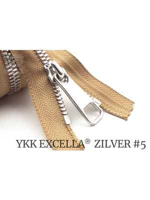 YKK Excella® YKK Excella Rits #5 zilver op maat (enkel) - (W11 - Camel -007)