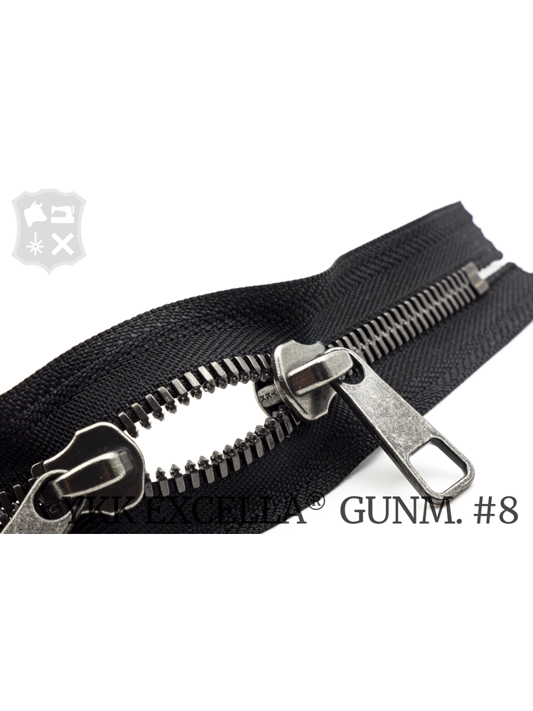 YKK Excella® YKK Excella Rits #8 Gunmetal op maat (dubbel / head-to-head) -(ZA19 - zwart 580)