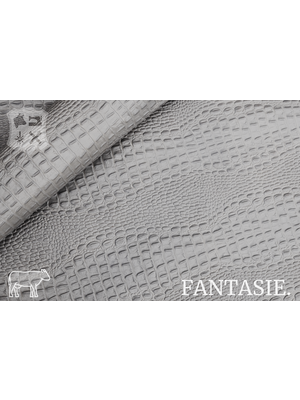 Fantasie Grijs two-tone kalfsvel met kroko-print