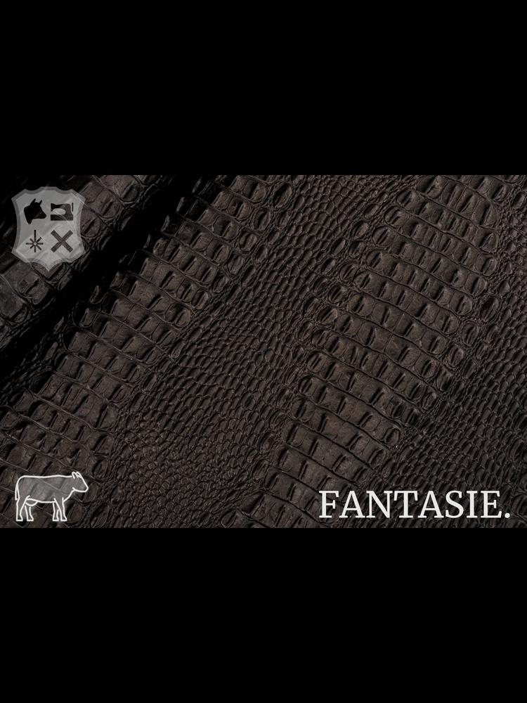Fantasie Donkerbruin kalfsvel met kroko-print