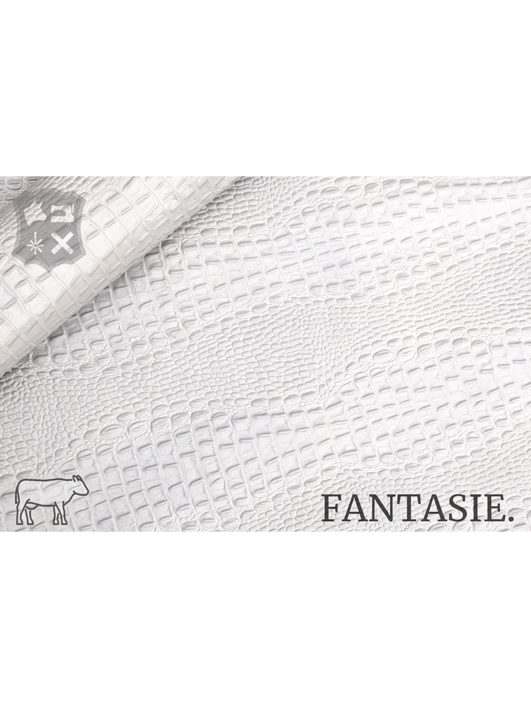 Fantasie Wit kalfsvel met kroko-print