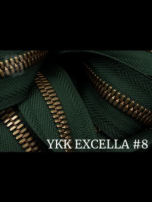 YKK Excella® Excella® #8 Gunmetal van de rol - Donkergroen (153). Per Meter