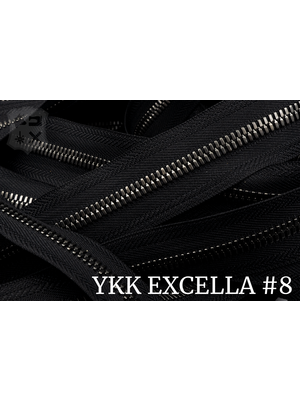 YKK Excella® Excella® #8 Gunmetal van de rol - Zwart (580). Per Meter
