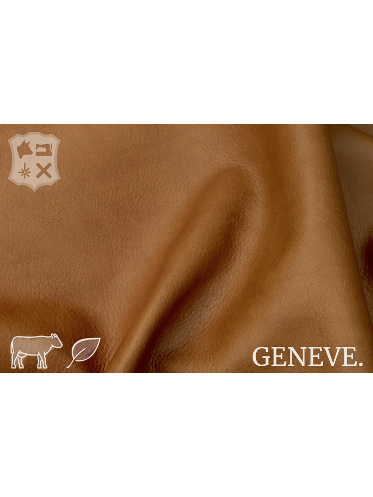 Geneve Plantaardig gelooid nappa leder in de kleur Honey Brown - De Geneve collectie