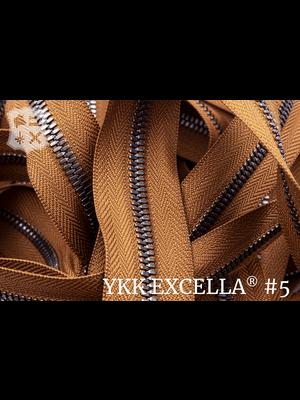 YKK Excella® Excella® #5 Gunmetal van de rol - (C17 - cognac 859)