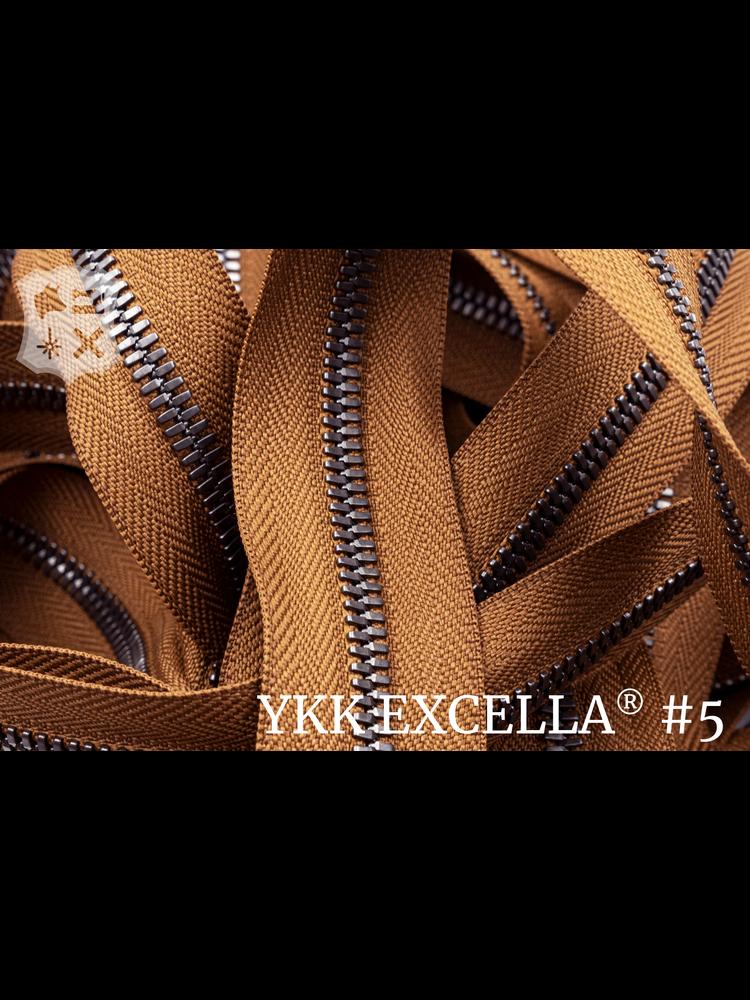 YKK Excella® Excella® #5 Gunmetal van de rol - Cognac (859). Per Meter