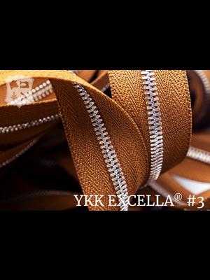 YKK Excella® Excella® #3 Zilver van de rol - (C17 - cognac 859)