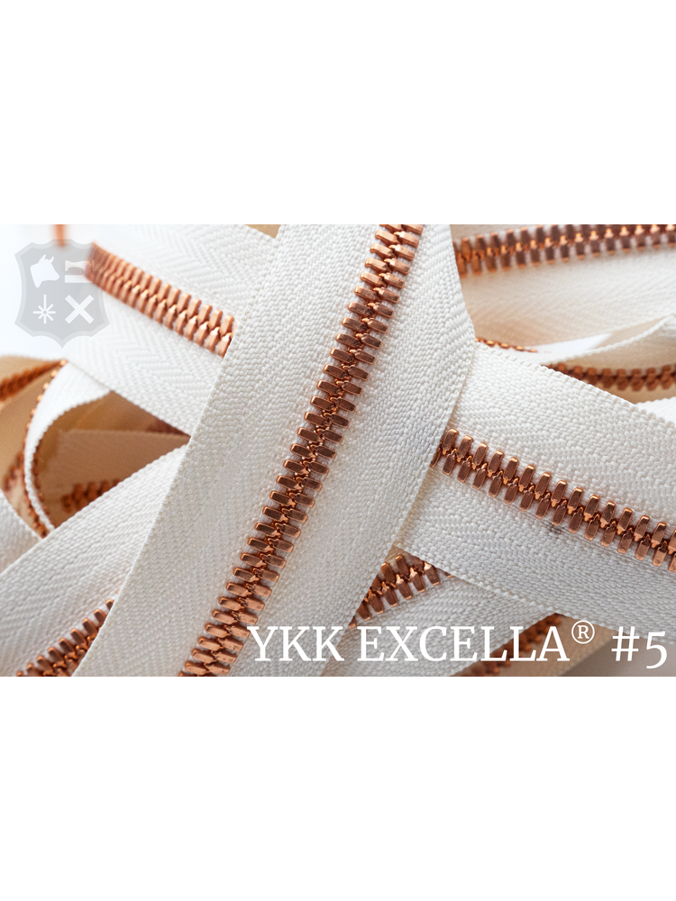 YKK Excella® Excella® #5 Bright Copper van de rol - Ivoor (841). Per Meter