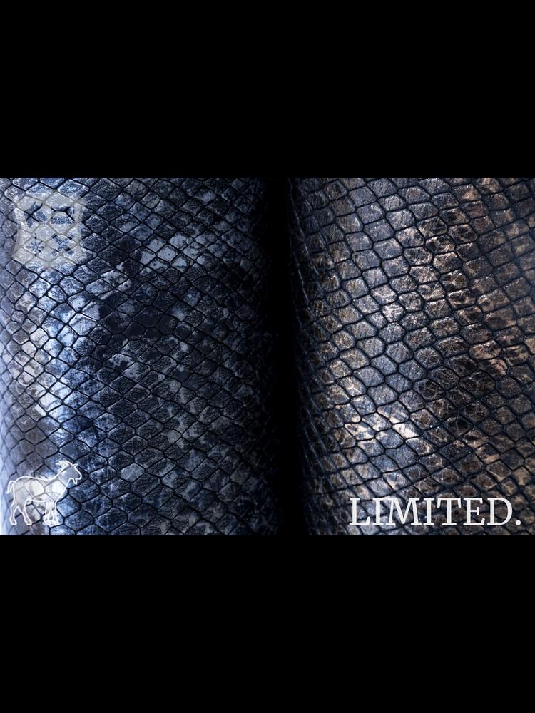Geiten leder met Metallic slangenprint, diverse kleuren