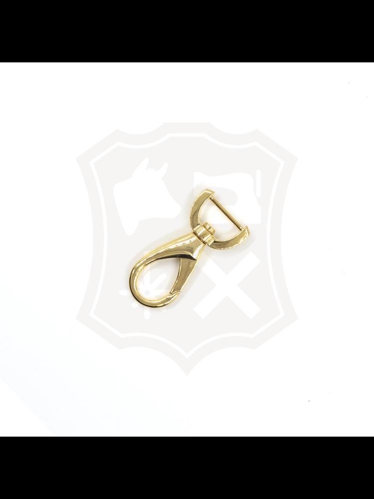 Musketonhaak, goudkleurig, binnenmaat 15,2mm, lengte 47mm