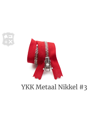 YKK Metaal Metalen rits #3 Zilver, geremd, enkel,  15 cm - (T15 - Rood 519)