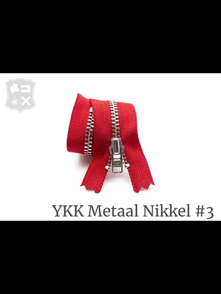YKK Metaal YKK Metalen rits #3 Zilver, geremd, 15 cm -  Rood 519