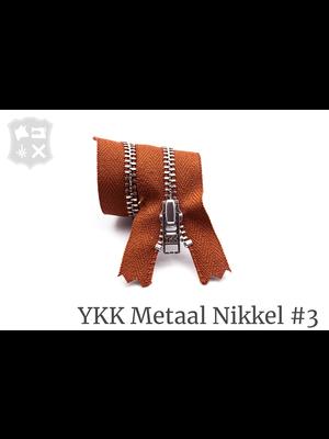 YKK Metaal Metalen rits #3 Zilver, geremd, enkel, 15 cm - (V12- Donker Cognac 809)