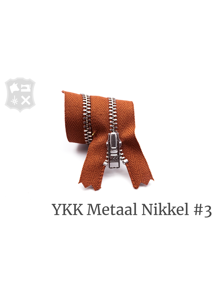 YKK Metaal YKK Metalen rits #3 Zilver, geremd, 15 cm - Donker Cognac 809