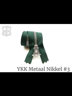 YKK Metaal Metalen rits #3 Zilver, geremd, enkel, 15 cm - (G20- Donker Groen 890)